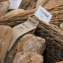 Fresh breads for sale at the Salt Spring Island Saturday Market in Ganges, Ganges, Salt Spring Island, British Columbia