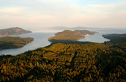 Aerial view from North Pender Island to South Pender Island, Gulf Islands, British Columbia