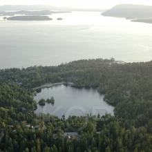 Buck Lake, North Pender Island Aerial Photographs, British Columbia, Canada.