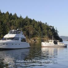 Two pleasure boats at anchor in Princess bay, Portland Island, British Columbia, Canada