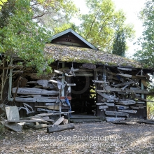 The old building containing driftwood boat names, Wallace Island, Gulf Islands, British Columbia, Canada