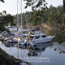 Boats rafted up in Princess Bay, Wallace Island, Gulf Islands, British Columbia, Canada
