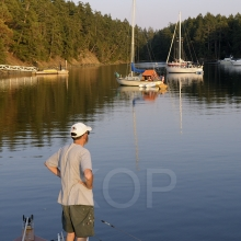 Man on the bow of a motorboat viewing anchored boats in Princess Bay, Wallace Island, Gulf Islands, British Columbia, Canada