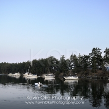 Boats in the  Princess Bay anchorage at dusk with the moon, Wallace Island, Gulf Islands, British Columbia, Canada