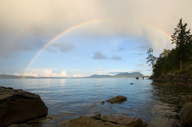 Rainbow over Saturna Island, Gulf Islands, British Columbia
